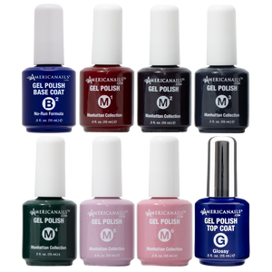 Americanails Manhattan Gel Polish Collection FREE Base & Top Coat .5oz