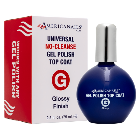 Americanails No-Cleanse Gel Polish Top Coat | Glossy Finish, Pro Size 2.5oz