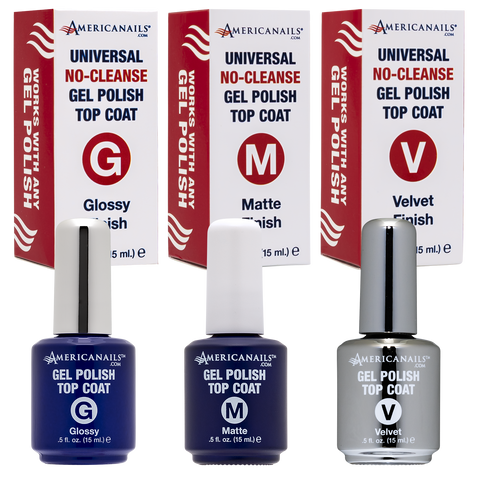 Americanails No-Cleanse Gel Polish Top Coat Trio (.5oz)