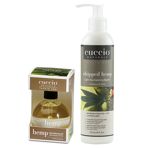 Cuccio Hemp Revitalizing Oil 2.5oz & Whipped Light Butter 8oz Duo