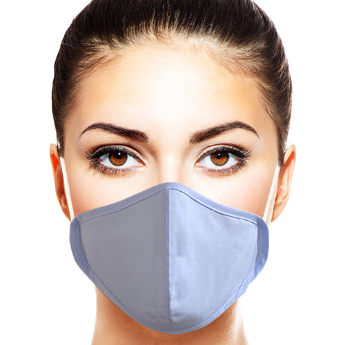 Cotton Earloop Face Mask, Comfortable & Antibacterial, Blue & White 2ct