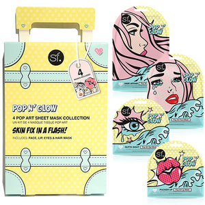 SFglow Pop N' Glow Sheet Mask Collection, Face, Lip, Eyes & Hair Mask, 4 in 1 Bundle Kit