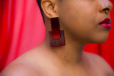 Door Knocker Earrings (Red)