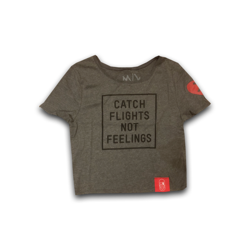 Flights over Feelings Womens Crop Top Charcoal Heather