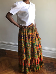 Ellen Tracy Boho 70's Maxi Skirt, Size Small // Bohemian Tiered Skirt // Classic 70s  Bohemian Maxi Skirt // Layered Gypsy Skirt