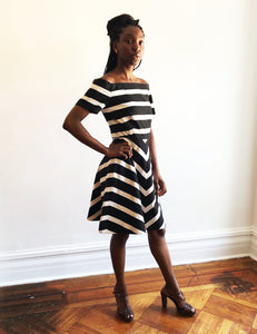 Fabulous Arnold Scaasi  Cocktail Dress, Size 4 //Madmen Dress // Striped Cocktail Dress Small
