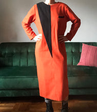 Stunning Orange and Black 80s Colorblock Dress, Size: Medium