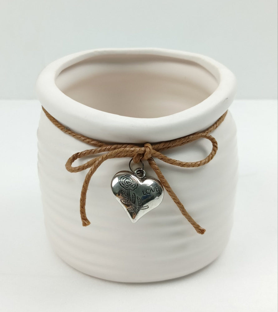 Round Ceramic Vase With Metal Love Ornament