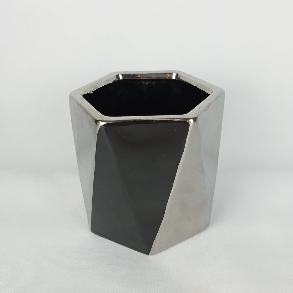 Ceramic Black & Silver Pot (S)