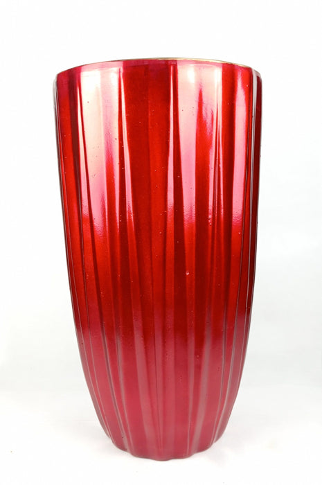 Ceramic Vase Lines Red L (Imported)