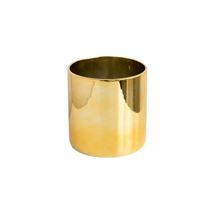 Ceramic Gold Cylindrical Pot (S)