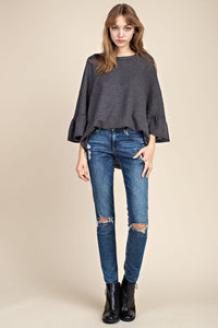 Thermal Tiered-Sleeve Top