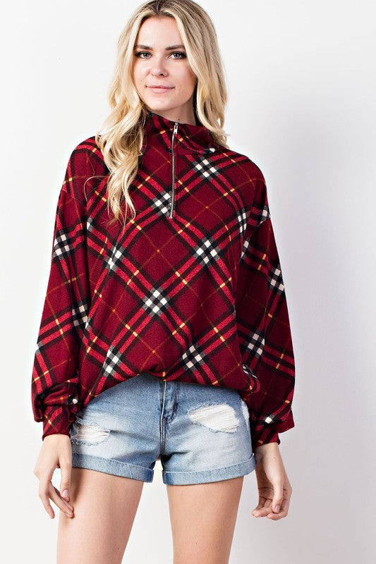Plaid Zip Top