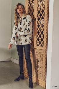 Fuzzy Leopard Pullover