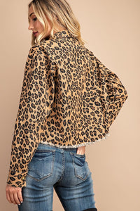 Leopard Cropped Denim Jacket