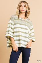 Olive Striped Boxy Top