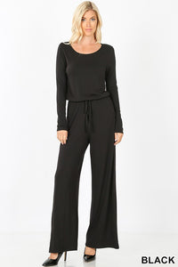 Long-Sleeve Black Jumpsuit