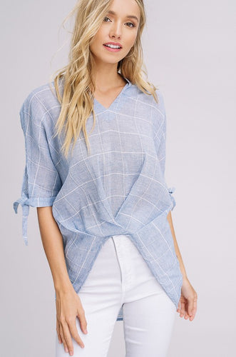 Blue Checked-pattern Top