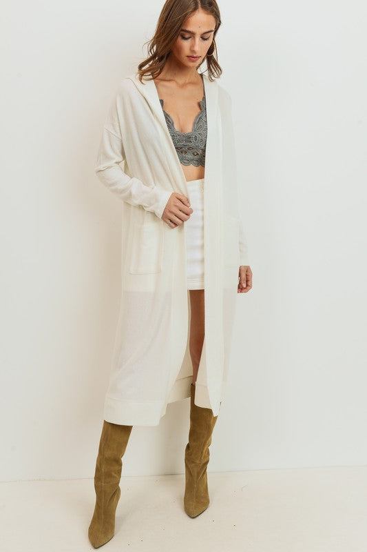 Ivory Knit Duster with Hood
