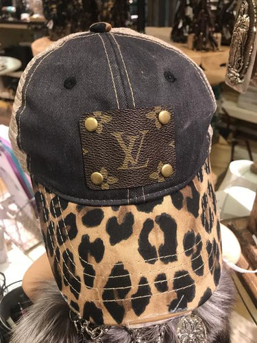 Denim Leopard Distressed LV Hat