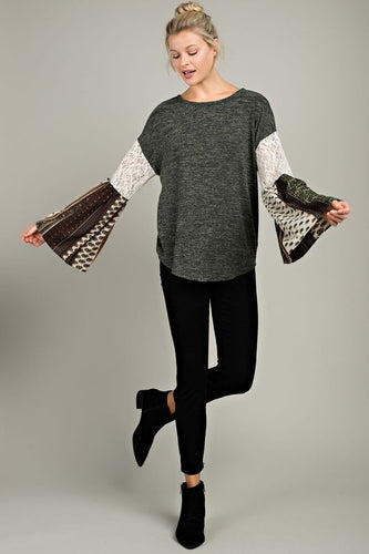 Olive Bell-Sleeved Top
