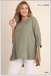 Sage Cold-shoulder Top