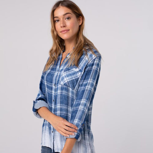 Blue Ombre Plaid Shirt