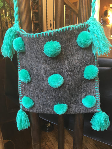 Milagros Pom Bag - Grey/Bright Green