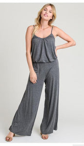 Charcoal Spaghetti-strap Jumpsuit