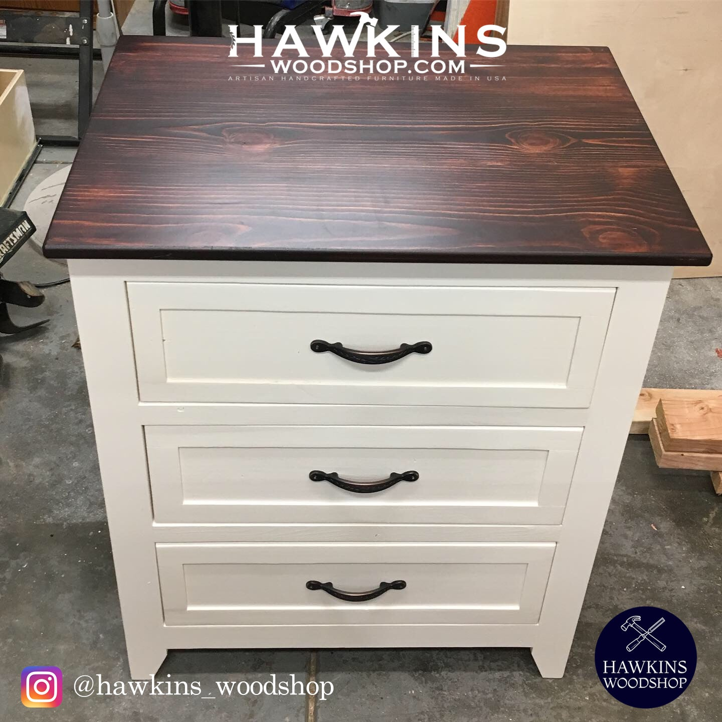 Shop hawkinswoodshop.com for solid wood & metal modern, traditional, contemporary, industrial, custom, rustic, and farmhouse furniture including our Custom Farmhouse Nightstand End Tables w/ Drawers (sold in pairs).  Enjoy free nationwide shipping, help with the fight against hunger in the US, and support a family owned and operated business that helps puts food on the table for folks in rural Northern California.