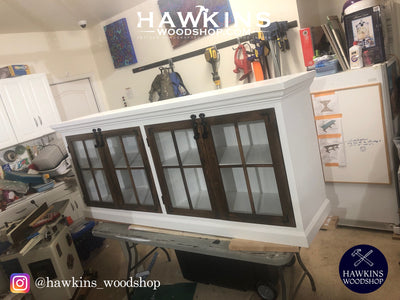 "Farmhouse Media Cabinet with Crown Moulding - Choose your Own Lengths x ~18"" W x ~36"" H. - Hawkins Woodshop"