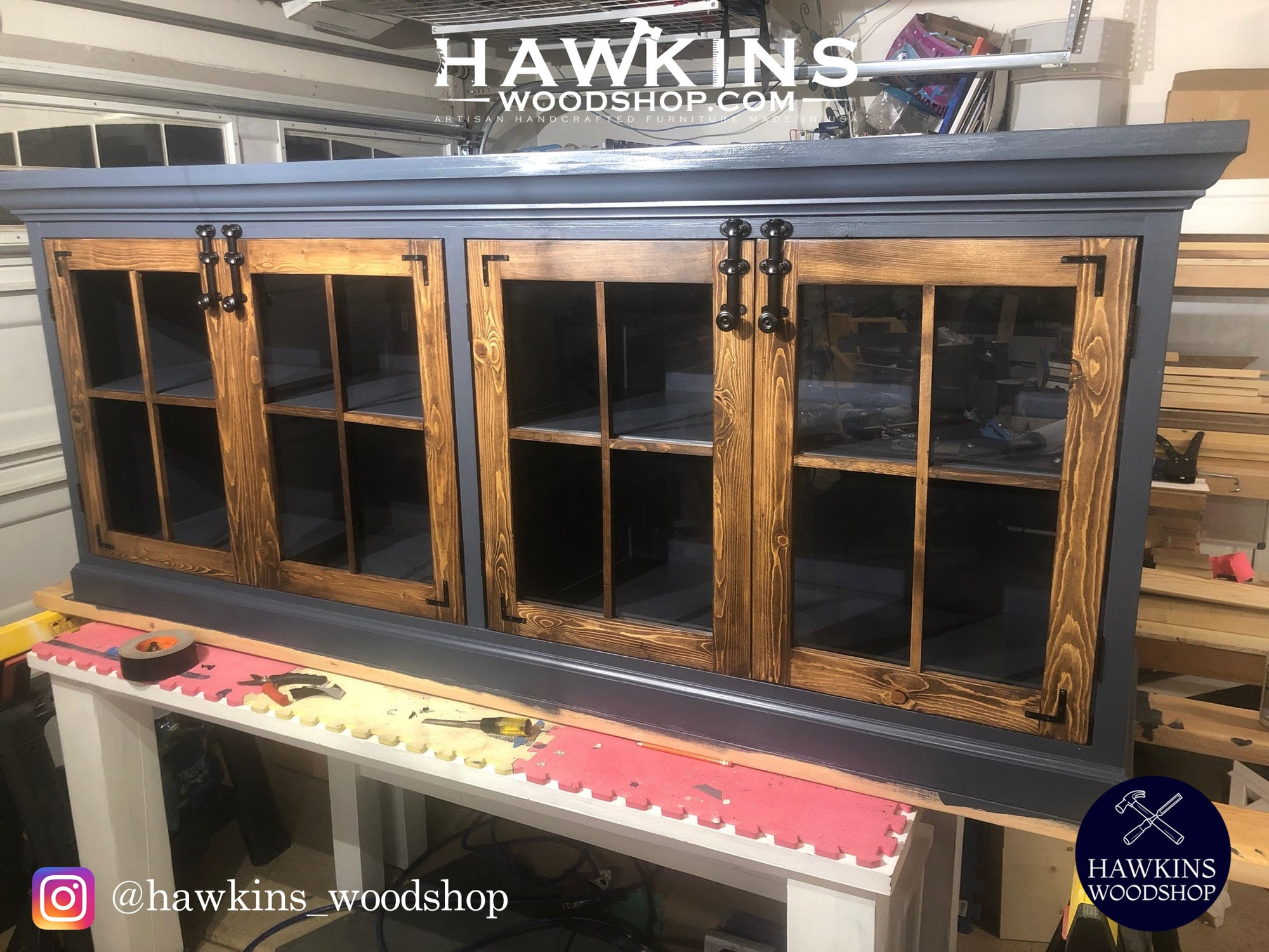 "Shop hawkinswoodshop.com for discounted solid wood & metal modern, traditional, contemporary, custom & farmhouse furniture including our Farmhouse Media Cabinet with Crown Moulding - Choose your Own Lengths x ~18"" W x ~36"" H..  Ask about our free delivery & assembly collections today!"