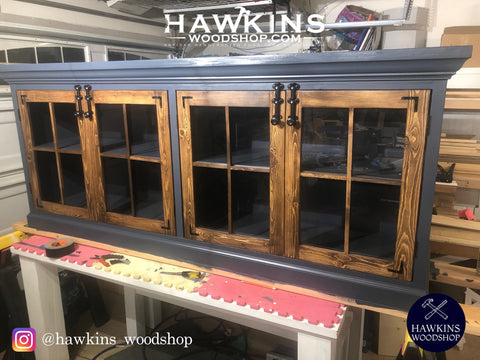 "Shop hawkinswoodshop.com for solid wood & metal modern, traditional, contemporary, industrial, custom & farmhouse furniture including our Custom Crown & Glass Console - Choose your Own Length X ~18"" W x ~36"" H.  Ask about our free nationwide freight delivery and low cost white glove assembly services."