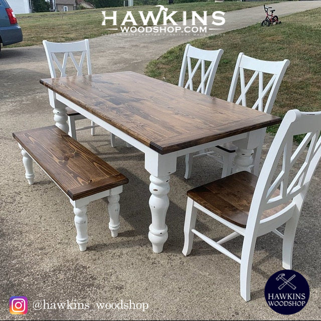 "Shop hawkinswoodshop.com for solid wood & metal modern, traditional, contemporary, industrial, custom, rustic, and farmhouse furniture including our Custom Country Farmhouse Rustic Turned Leg Dining Table - Choose your Own Length x 38"" W x 30"" H.  Ask about our free nationwide delivery service."