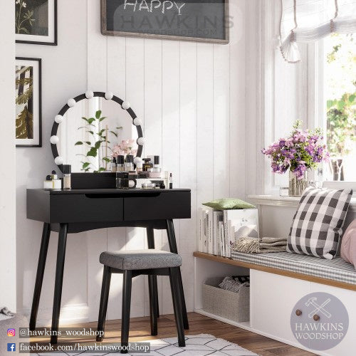 Shop hawkinswoodshop.com for discounted solid wood & metal modern, traditional, contemporary, industrial, custom & farmhouse furniture including our Light Bulbs Black Wood and Bench Vanity Set Free-Shipping.  Ask about our free nationwide freight delivery and low cost assembly services.