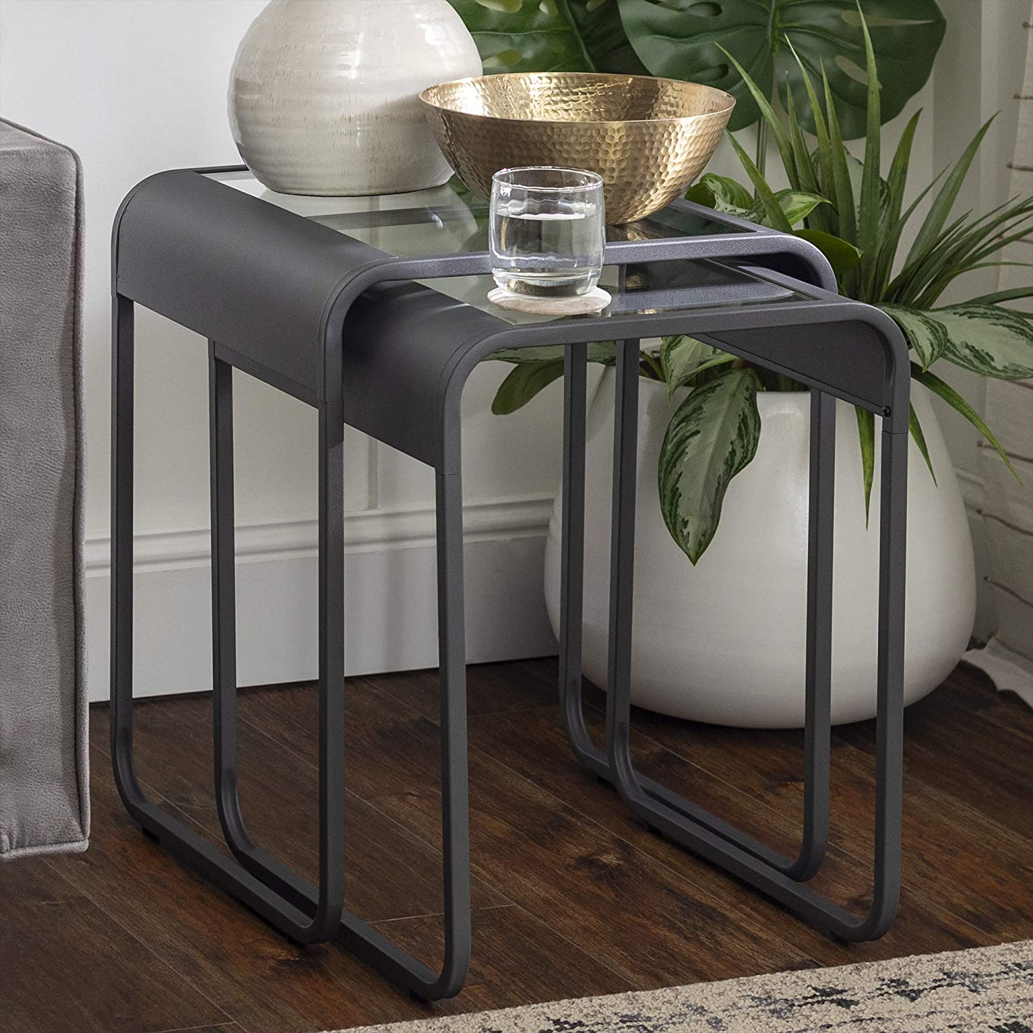 Enjoy fast, free nationwide shipping!  Family owned and operated, HawkinsWoodshop.com is your one stop shop for affordable furniture.  Shop HawkinsWoodshop.com for solid wood & metal modern, traditional, contemporary, industrial, custom, rustic, and farmhouse furniture including our Curved Metal Frame Nesting End Table in Gun Metal Grey.