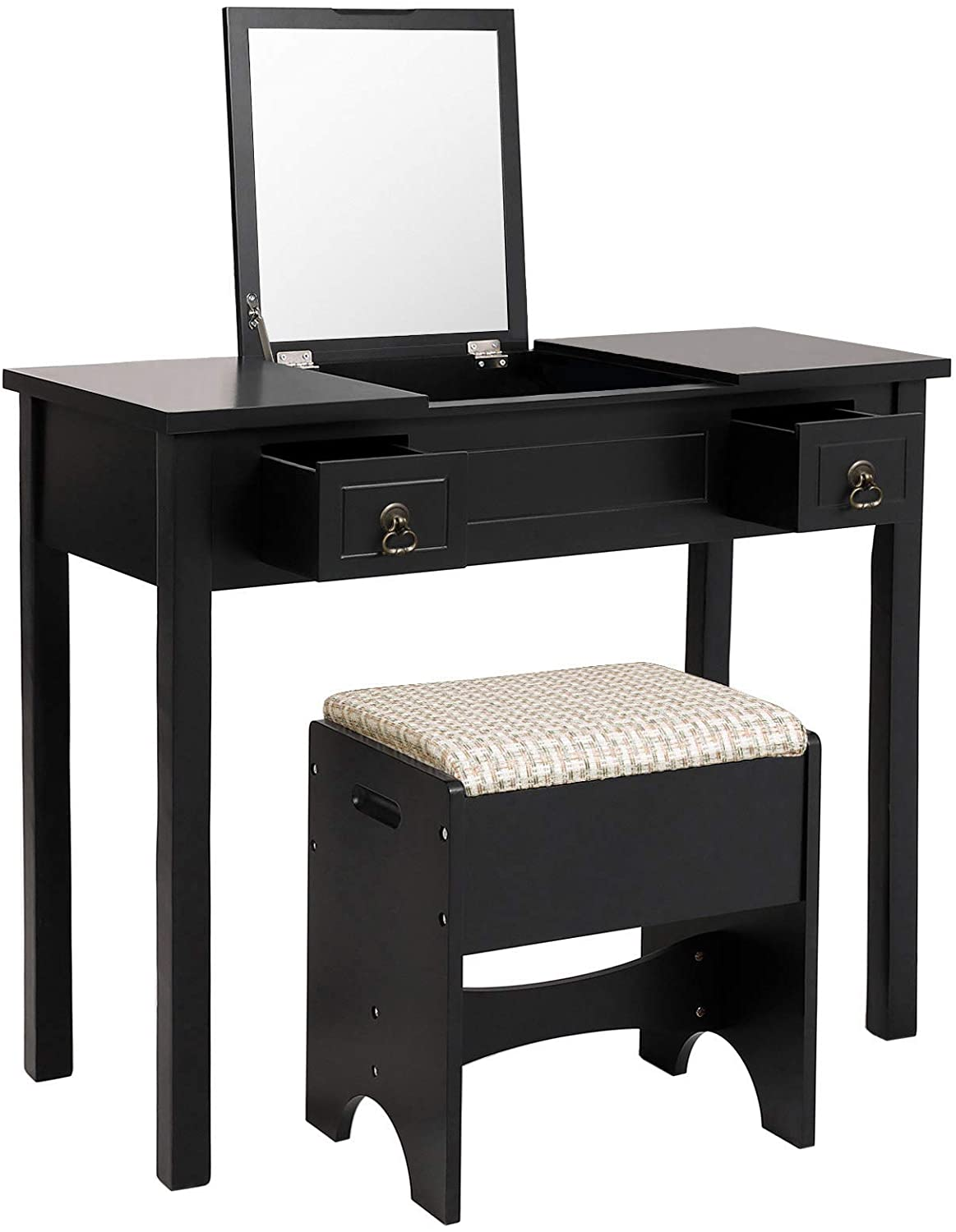 Enjoy fast, free nationwide shipping!  Family owned and operated, HawkinsWoodshop.com is your one stop shop for affordable furniture.  Shop HawkinsWoodshop.com for solid wood & metal modern, traditional, contemporary, industrial, custom, rustic, and farmhouse furniture including our Black Flip Top Mirror Vanity Set.