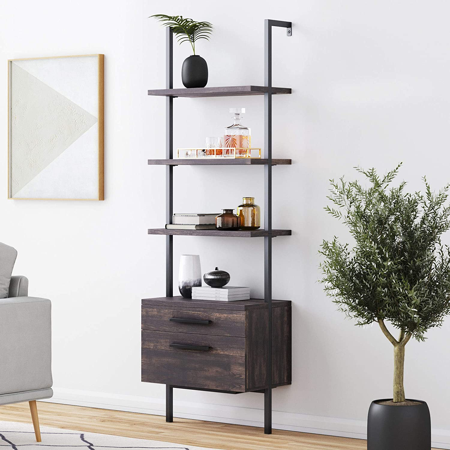 Theo Industrial Bookshelf with Wood Drawers