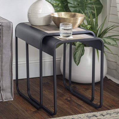 Enjoy fast, free nationwide shipping!  Family owned and operated, HawkinsWoodshop.com is your one stop shop for affordable furniture.  Shop HawkinsWoodshop.com for solid wood & metal modern, traditional, contemporary, industrial, custom, rustic, and farmhouse furniture including our Curved Metal Frame Nesting End Table in Grey Wash.