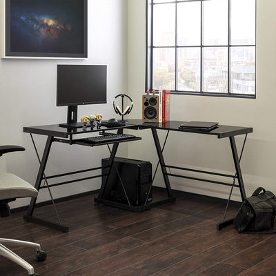 Enjoy fast, free nationwide shipping!  Family owned and operated, HawkinsWoodshop.com is your one stop shop for affordable furniture.  Shop HawkinsWoodshop.com for solid wood & metal modern, traditional, contemporary, industrial, custom, rustic, and farmhouse furniture including our Modern Corner L Shaped Glass Computer Workstation Single Desk in Black.