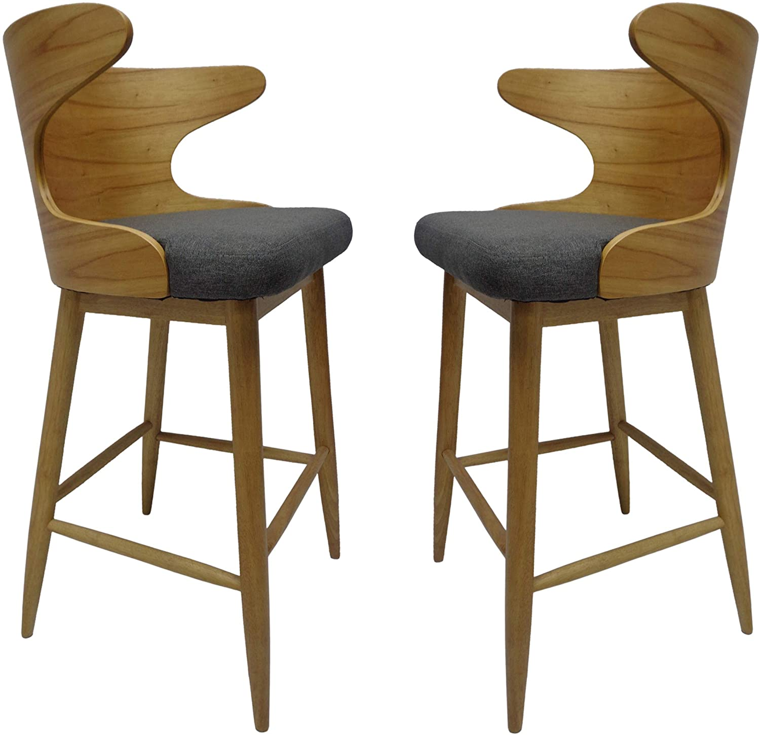 Mid Century Modern Fabric Barstools Set of 2 in Charcoal