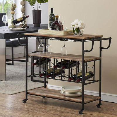 Enjoy fast, free nationwide shipping!  Owned by a husband and wife team of high-school music teachers, HawkinsWoodshop.com is your one stop shop for affordable furniture.  Shop HawkinsWoodshop.com for solid wood & metal modern, traditional, contemporary, industrial, custom, rustic, and farmhouse furniture including our Vintage Brown Bar Cart w/ Wine Rack and Glass Holder.