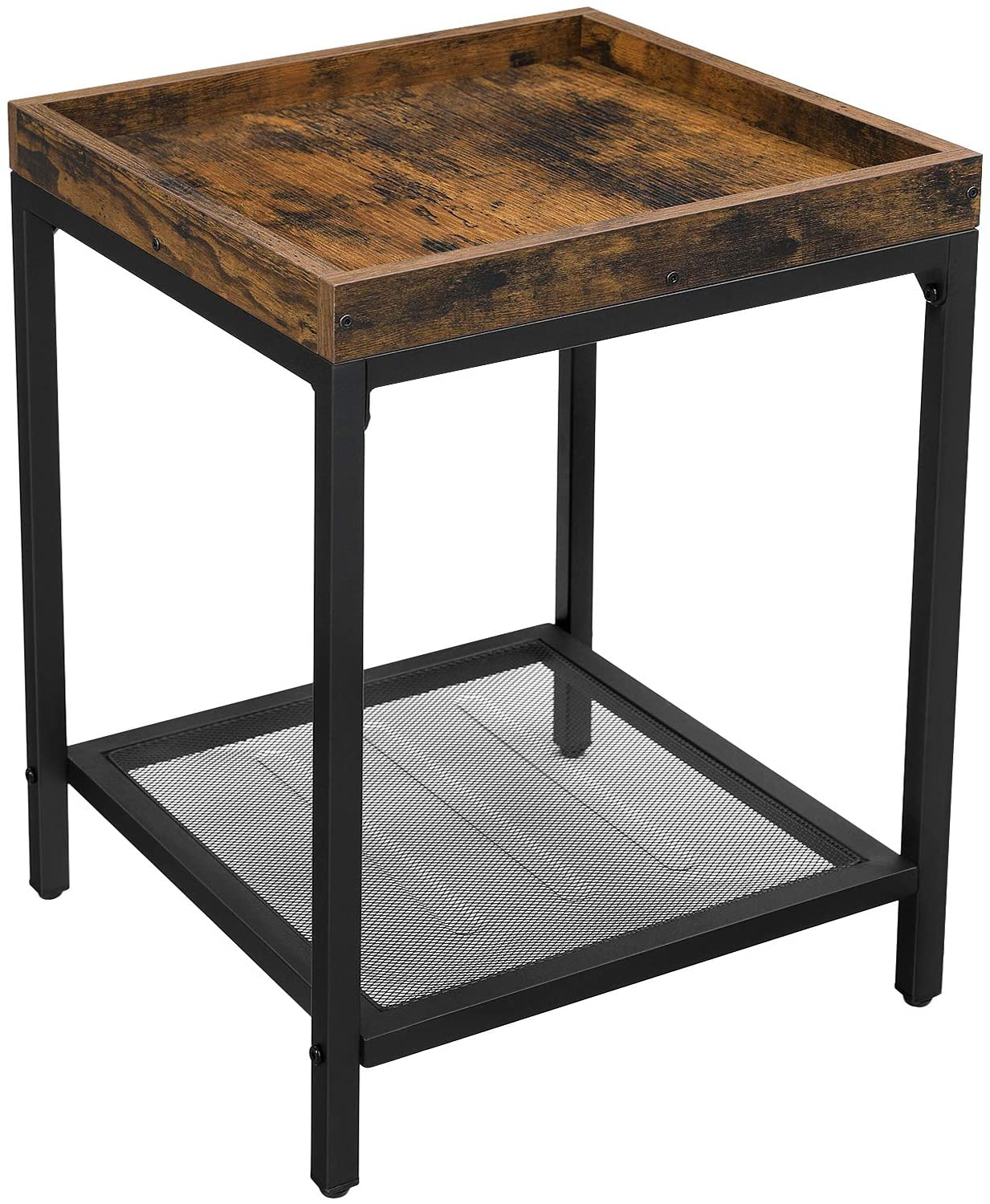 Enjoy fast, free nationwide shipping!  Owned by a husband and wife team of high-school music teachers, HawkinsWoodshop.com is your one stop shop for affordable furniture.  Shop HawkinsWoodshop.com for solid wood & metal modern, traditional, contemporary, industrial, custom, rustic, and farmhouse furniture including our Ryan Mesh Shelf Raised Edges Side Table.