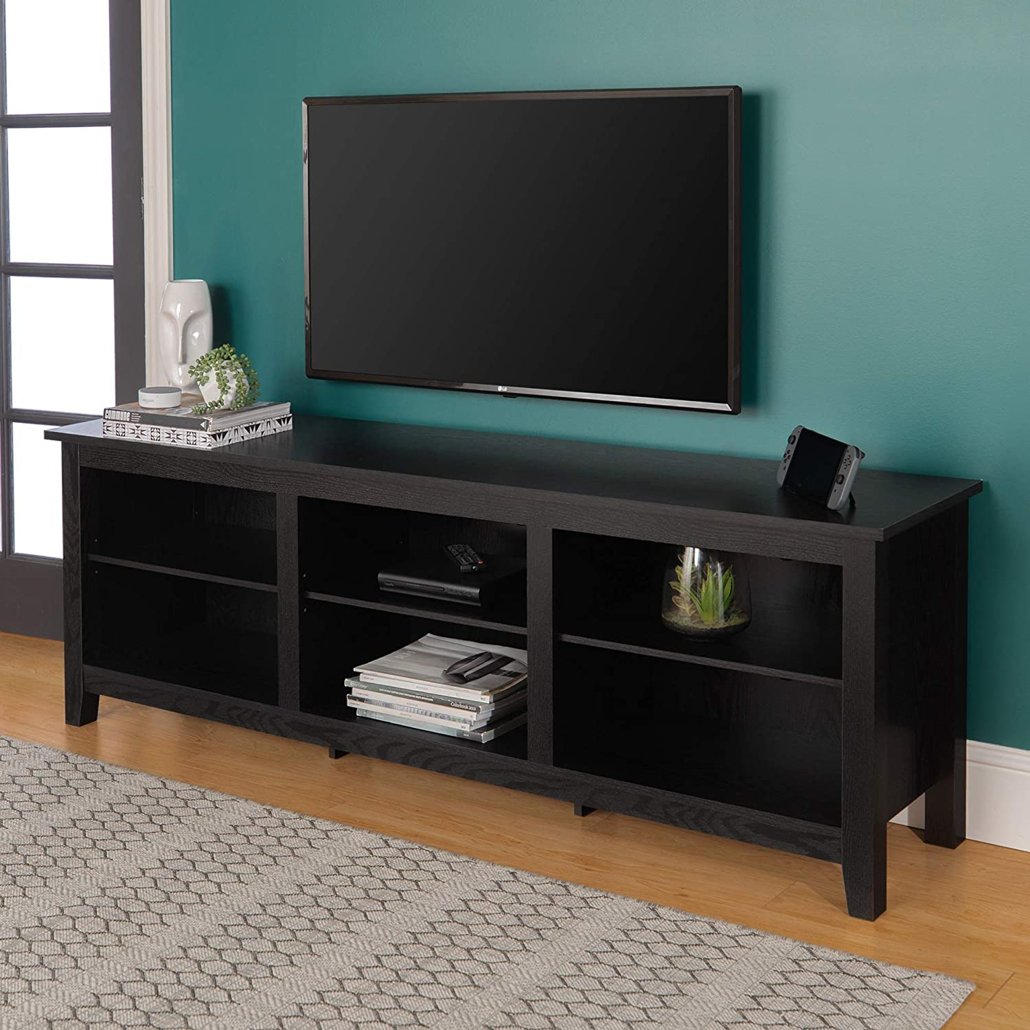 Large Black TV Console Entertainment Center