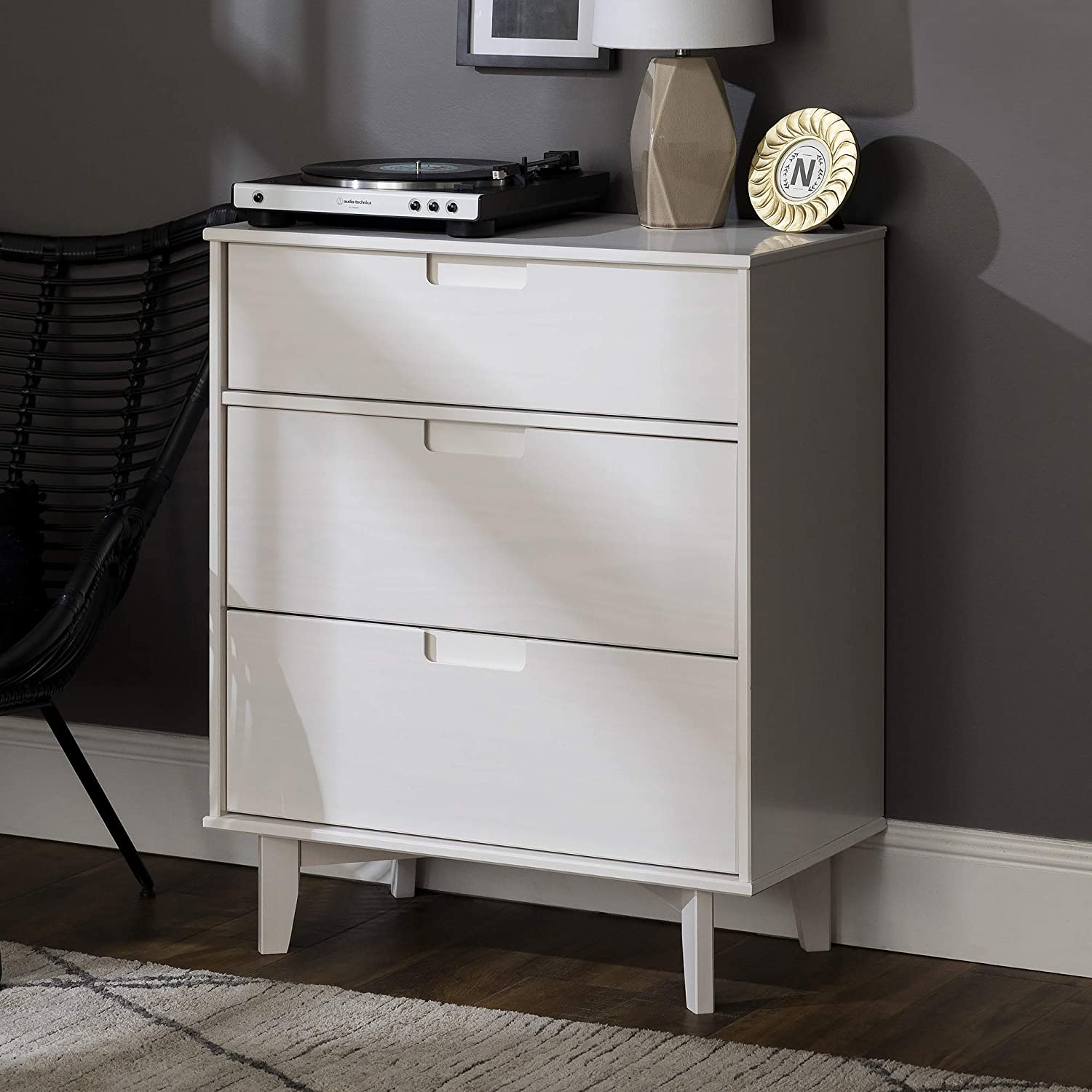 "Enjoy fast, free nationwide shipping!  Family owned and operated, HawkinsWoodshop.com is your one stop shop for affordable furniture.  Shop HawkinsWoodshop.com for solid wood & metal modern, traditional, contemporary, industrial, custom, rustic, and farmhouse furniture including our Pine Wood 3-DraWalker Edisonr Groove Handle Vertical Dresser, 36"" in White."