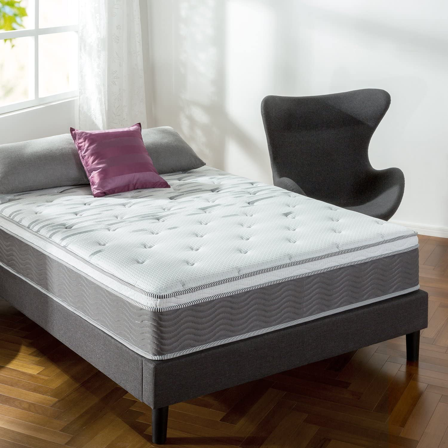 Extra Firm Pocket Spring Hybrid Mattress with Euro Top in Twin Size