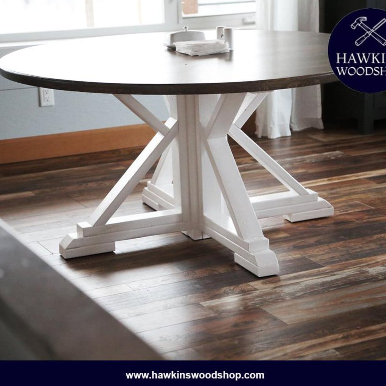 Shop hawkinswoodshop.com for discounted solid wood & metal modern, traditional, contemporary, custom & farmhouse furniture including our Custom Round Farmhouse Dining Table Built to Order. Ask about our free nationwide freight delivery or assembly services today.