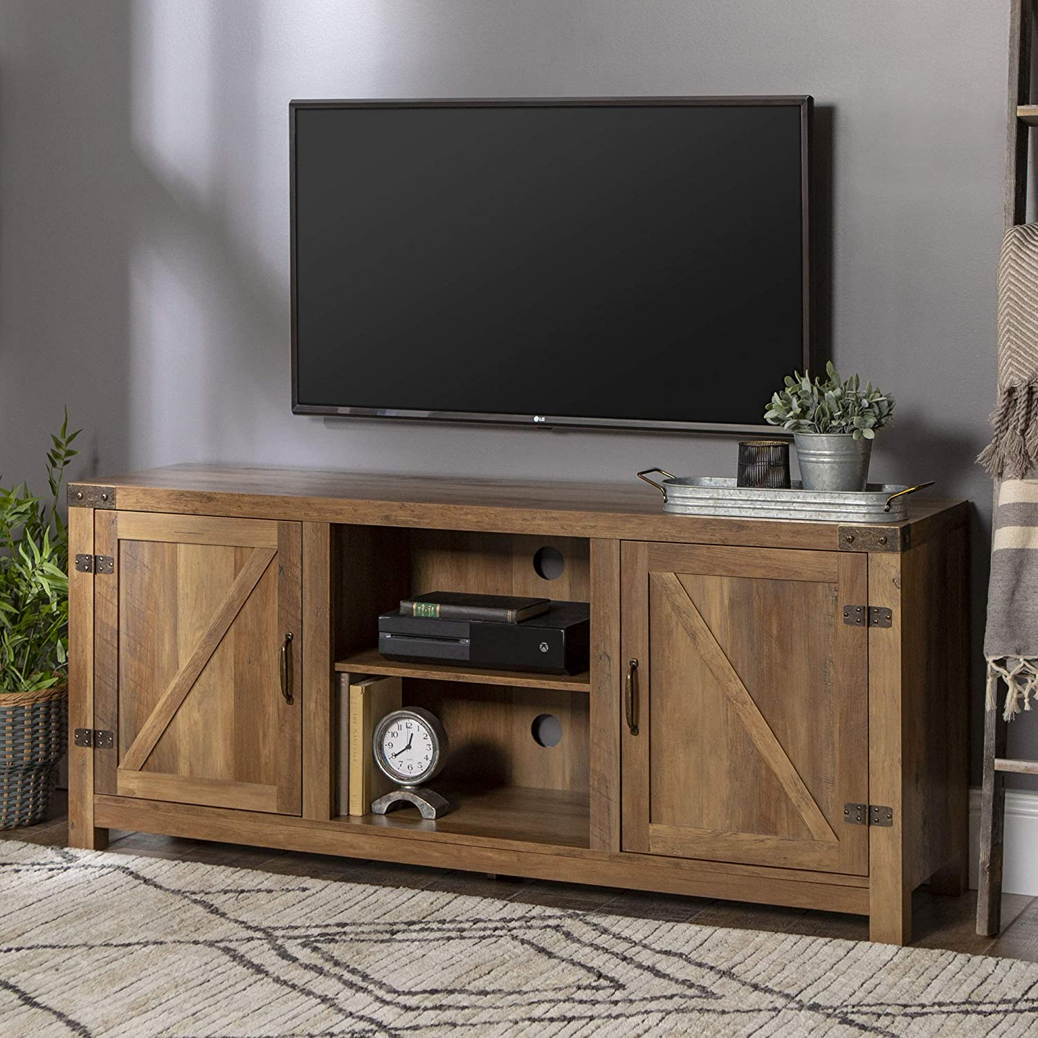 Industrial Farmhouse Reclaimed Barnwood TV Console