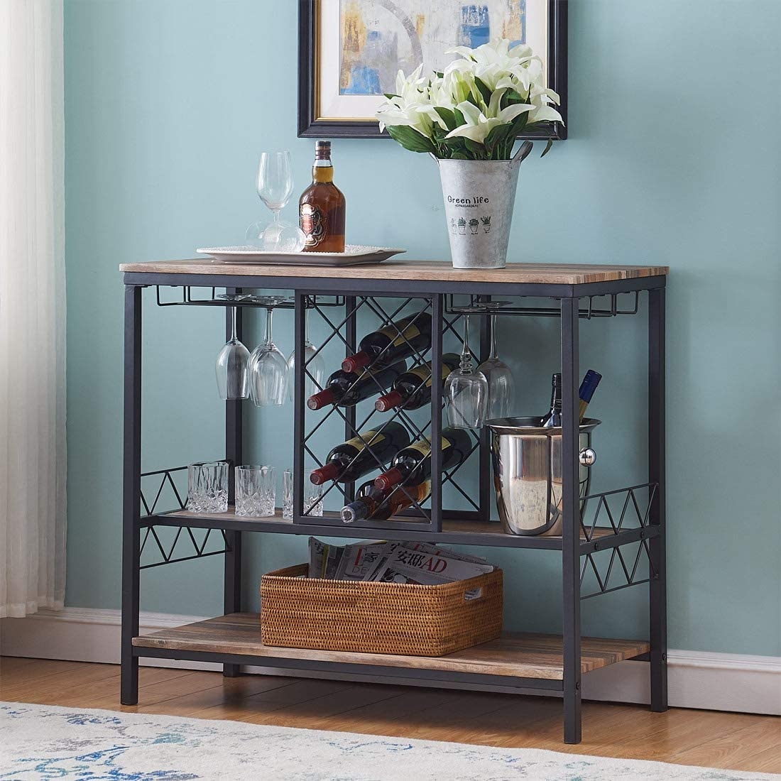 Furniture Industrial Wine Rack Table with Glass Holder