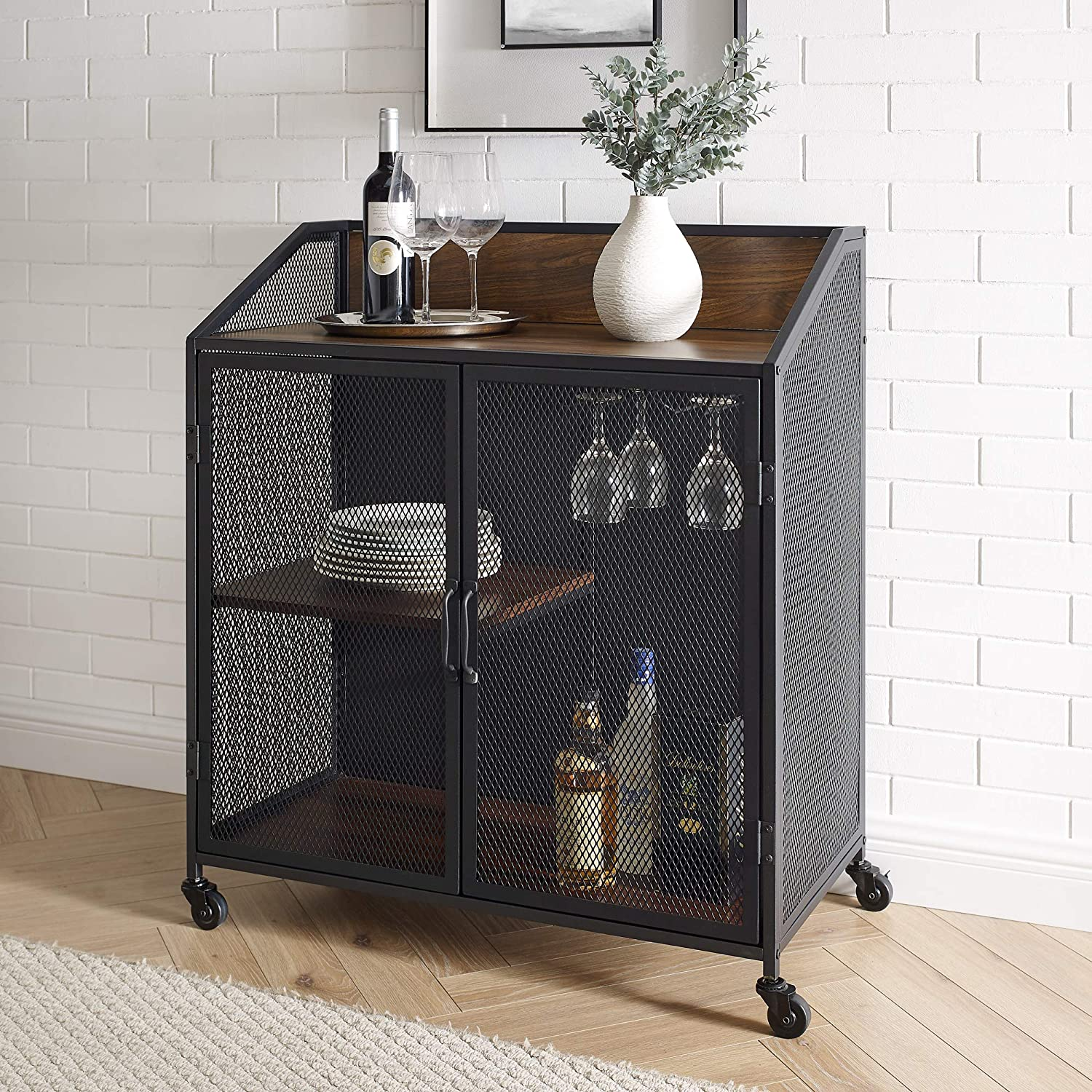 Enjoy fast, free nationwide shipping!  Family owned and operated, HawkinsWoodshop.com is your one stop shop for affordable furniture.  Shop HawkinsWoodshop.com for solid wood & metal modern, traditional, contemporary, industrial, custom, rustic, and farmhouse furniture including our Industrial Wood and Metal Bar Cabinet with Wheels in Dark Walnut.